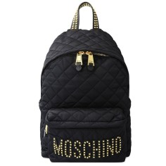 Moschino Studded Logo Womens Large Techno fabric Backpack Black